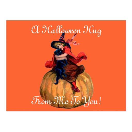 Vintage Halloween Hug Post Card
