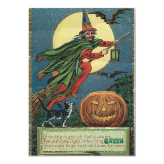 Vintage Halloween Invitations of a flying Witch