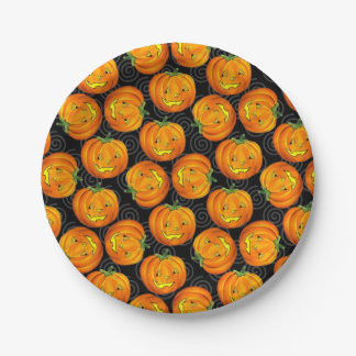 Vintage Halloween Jack-O-Lantern Paper Plate 7 Inch Paper Plate