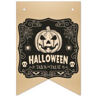 Vintage Halloween Jack-O-Lantern. Trick or Treat. Bunting