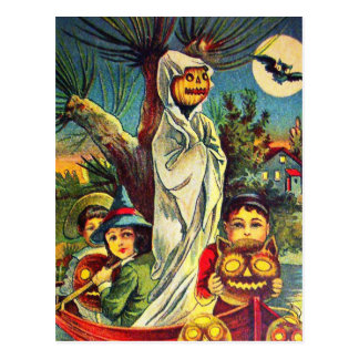 Vintage Halloween kids pumpkin bat postcard