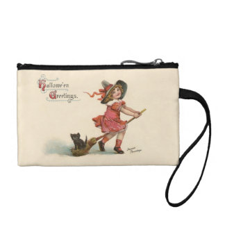 Vintage Halloween Little Witch Coin Clutch Purse Coin Wallet