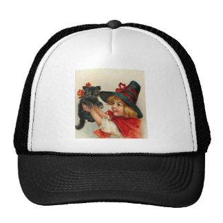 Vintage Halloween Little Witch Holding Black Cat Hat