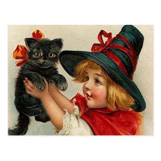 Vintage Halloween Little Witch Holding Black Cat Postcard