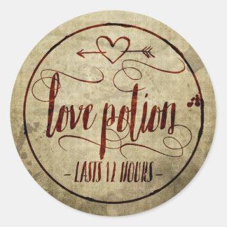 Vintage Halloween Love Potion Label Round Sticker