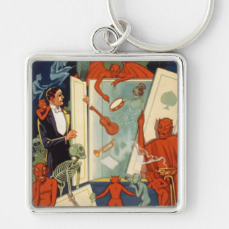 Vintage Halloween Magician and Spooky Magic Act Keychain
