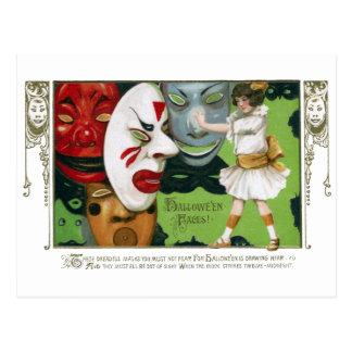 Vintage Halloween Masks and Girl Postcard