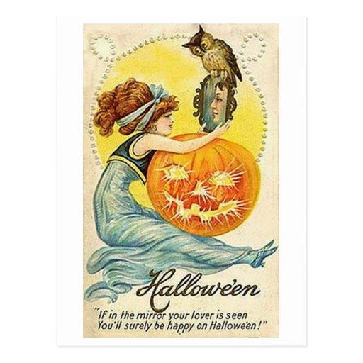 Vintage Halloween Mirror Card Post Cards
