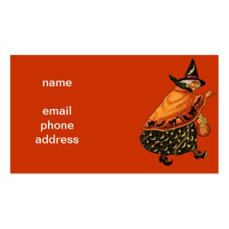 Vintage Halloween Old Witch Business Card Templates