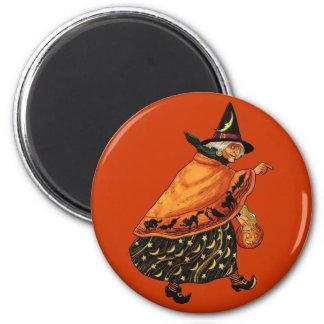 Vintage Halloween Old Witch Fridge Magnets