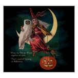 Vintage Halloween Owl and Witch Poster