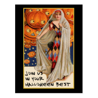Vintage Halloween Party Invite With Bloody Text Postcard