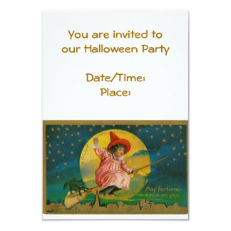Vintage Halloween Party Invite with Witch