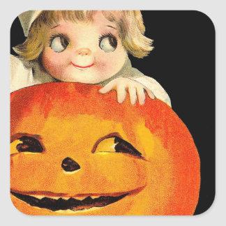Vintage Halloween Pumpkin and Cute Girl Gift Item Square Sticker