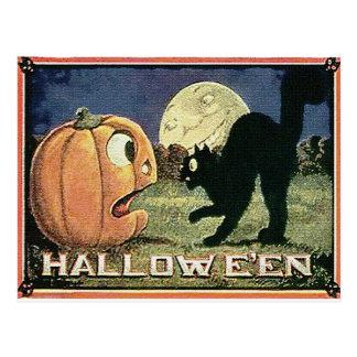 Vintage Halloween Pumpkin Cat in Mosaic Post Card