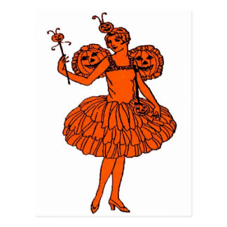 Vintage Halloween Pumpkin Fairy Post Cards