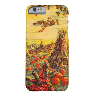 Vintage Halloween Pumpkin Patch with Haystacks Barely There iPhone 6 Case