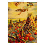 Vintage Halloween Pumpkin Patch with Haystacks Greeting Card
