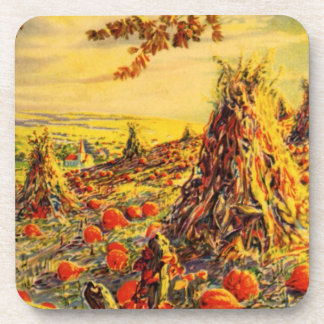 Vintage Halloween Pumpkin Patch with Haystacks Beverage Coasters