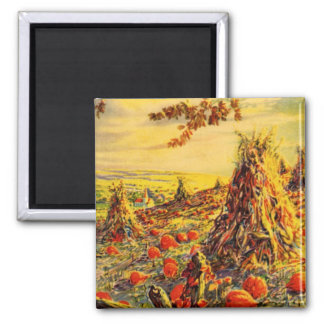 Vintage Halloween Pumpkin Patch with Haystacks Square Magnet