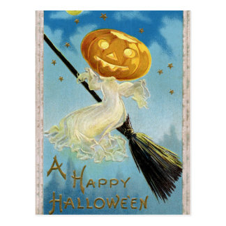 Vintage Halloween pumpkin witch broom postcard