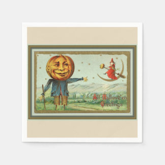 Vintage Halloween Scarecrow and Witch Paper Napkin