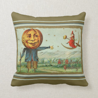 Vintage Halloween Scarecrow and Witch Throw Pillow