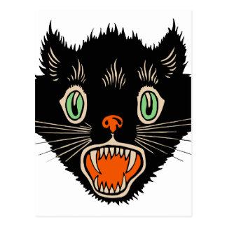 Vintage Halloween Scared Black Cat Postcard