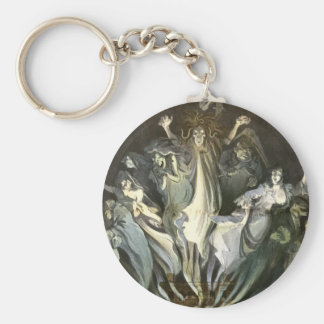 Vintage Halloween, Scary Ghosts and Skeleton Music Basic Round Button Key Ring