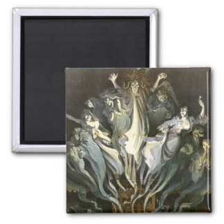 Vintage Halloween, Scary Ghosts and Skeleton Music 2 Inch Square Magnet