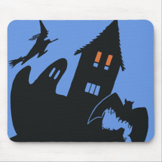 Vintage Halloween, Scary Haunted House and Witch Mouse Pad