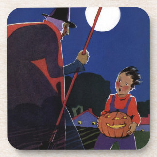 Vintage Halloween Scary Witch Broom Boy Full Moon Beverage Coaster