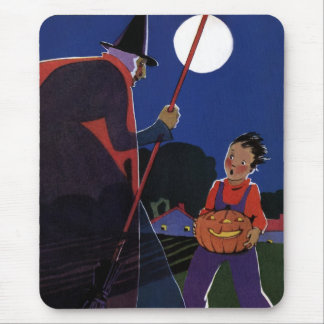 Vintage Halloween Scary Witch Broom Boy Full Moon Mousepad