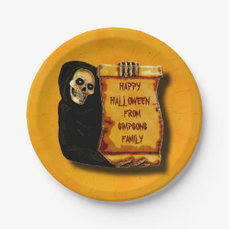 Vintage Halloween Skeleton Greetings Parchment 7 Inch Paper Plate