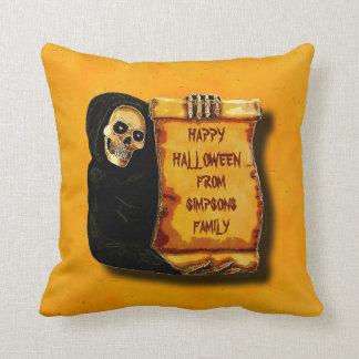Vintage Halloween Skeleton Greetings Parchment Cushion