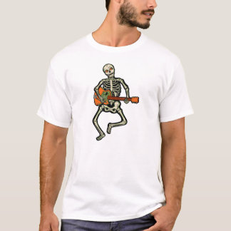 Vintage Halloween Skeleton with Electric Guitar T-Shirt