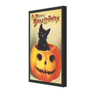 Vintage Halloween Smiling Cute Black Cat Pumpkin Stretched Canvas Print