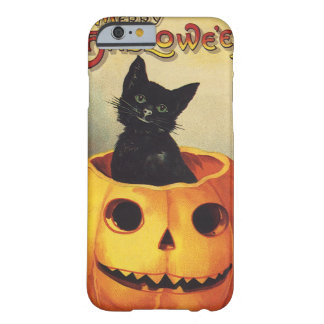 Vintage Halloween Smiling Cute Black Cat Pumpkin Barely There iPhone 6 Case
