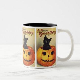 Vintage Halloween Smiling Cute Black Cat Pumpkin Two-Tone Coffee Mug