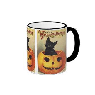 Vintage Halloween Smiling Cute Black Cat Pumpkin Ringer Coffee Mug