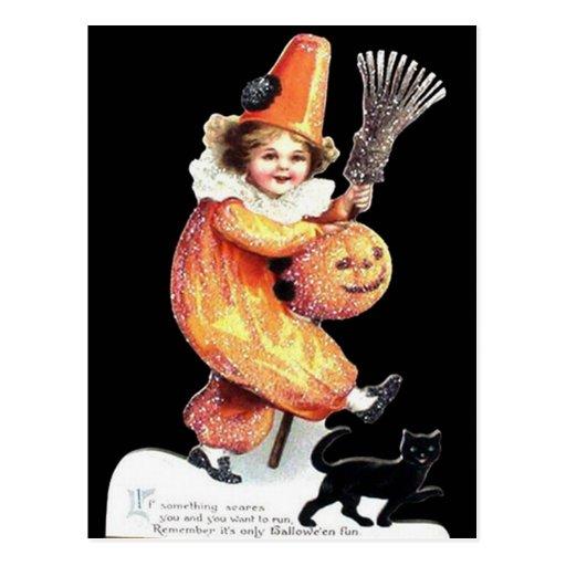 Vintage Halloween Sparkling Costume Party Postcards