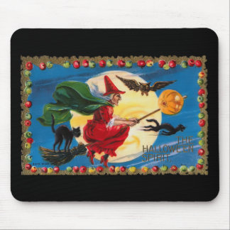 Vintage Halloween Spirit Witch Mousepad
