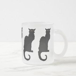 Vintage Halloween, Spooky Art Nouveau Black Cat Frosted Glass Mug