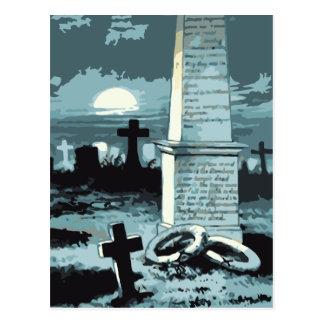 Vintage Halloween Spooky Cemetery Night Blue Moon Postcard
