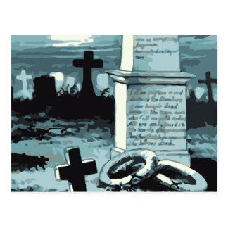 Vintage Halloween Spooky Cemetery Night Blue Moon Post Cards