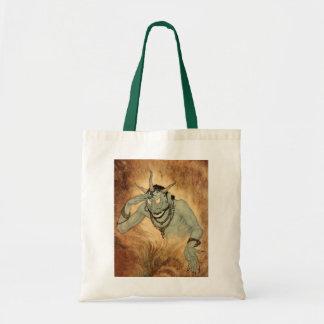 Vintage Halloween, Spooky Demon Monster with Horns Tote Bag