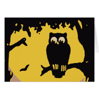 Vintage Halloween, Spooky Owl in Tree with Moon Card