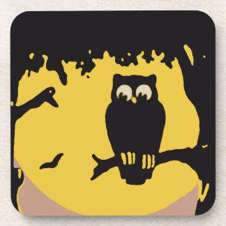 Vintage Halloween, Spooky Owl in Tree with Moon Coasters