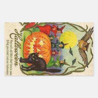 Vintage Halloween Sticker   Witch Cat