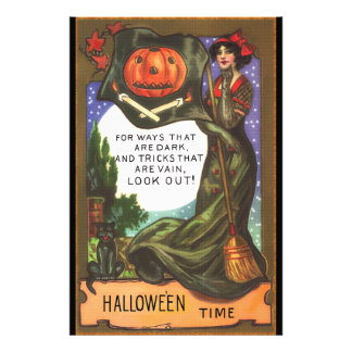Vintage Halloween Time Dark Witch Greeting Photo Art